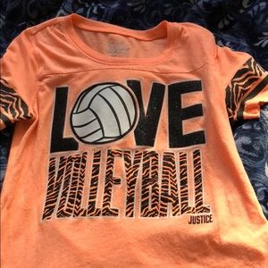 Justice love volleyball t-shirt